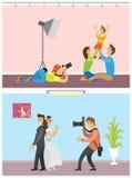 Par för bröllop för unge och för förälder för familjfotoperiod royaltyfri illustrationer