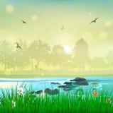 Par för förälskelse för solnedgång för harmoninaturlandskap royaltyfri illustrationer