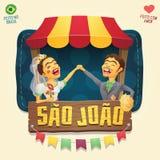 Par för hick för SaoJoao Saint John Brazilian June parti framme Arkivbild