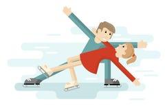 Par figurerar på en åka skridskor isbana Folk i plan stil Arkivbilder