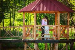 Par i den utomhus- parken fotografering för bildbyråer