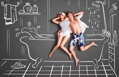 Par i ett badrum vektor illustrationer