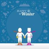 Par i Snowsuit med vintersymbolsbakgrund Stock Illustrationer