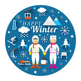 Par i Snowsuit med vintersymbolsetiketten Royaltyfri Bild
