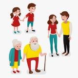 Par i tre åldrar Vektorillustration i tecknad filmstil Royaltyfria Bilder
