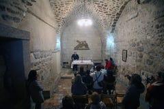 Par l'intermédiaire de Dolorosa, 7èmes stations de la croix, Jérusalem Photo libre de droits