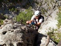 Par l'intermédiaire de Ferrata/de s'élever de klettersteig Image stock