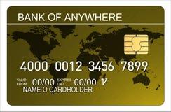 Par la carte de crédit avec la carte du monde Images libres de droits
