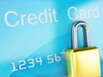 Par la carte de crédit et blocage concept sûr d'opérations bancaires sur le fond blanc Photo stock