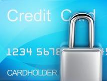 Par la carte de crédit et blocage concept sûr d'opérations bancaires sur le fond blanc Image stock