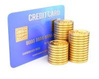 Par la carte de crédit et pièces de monnaie Photo libre de droits