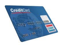 Par la carte de crédit sur le blanc Photos libres de droits