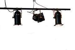 Par lamp. 3 par lamps hang on black bar Stock Photos