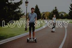 Par Love Story Landet parkerar le för grabb arkivbild