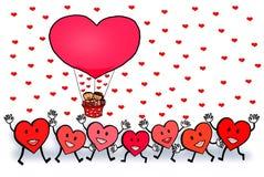 Par Małżeńskich serca Kochają Szczęśliwego walentynki ` s dzień Zdjęcie Royalty Free