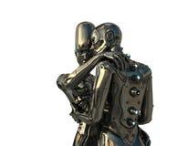 par man den robotic kvinnan Arkivfoton
