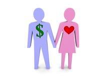Par. Man med dollartecknet i stället för hjärtan. Royaltyfri Fotografi