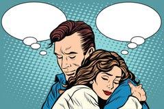 Par man och kvinnaförälskelsekramen stock illustrationer