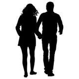 Par man och kvinnakonturer på en vit bakgrund också vektor för coreldrawillustration stock illustrationer