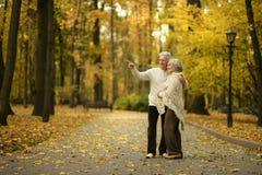 par mature att gå Fotografering för Bildbyråer
