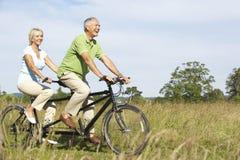 par mature ridningtandemcykeln Arkivfoton