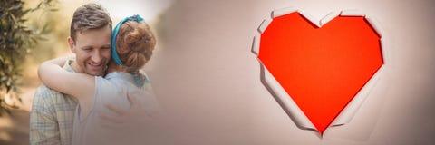 Par med övergång för förälskelse för valentin` s skyler över brister hjärta Royaltyfri Fotografi