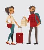 Par med bagage Fotografering för Bildbyråer