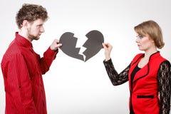 Par med bruten hjärta som bryter upp Royaltyfri Fotografi