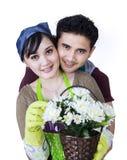 Par med en blomkruka Arkivfoton