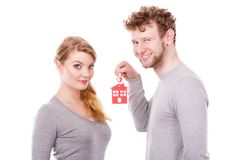 Par med hustangenter Arkivfoto