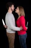 Par med knivar royaltyfri bild