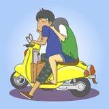 Par med motorcykeln stock illustrationer