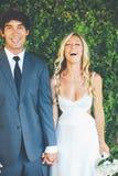 Par på bröllopdag Arkivfoto