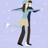 Par på den åka skridskor isbanan Royaltyfri Foto