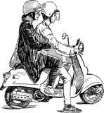 Par på en sparkcykel Royaltyfria Bilder