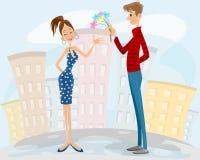 Par på ett datum vektor illustrationer