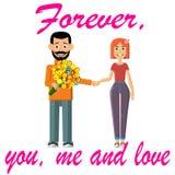 Par på ett datum förbunden förälskelse stock illustrationer