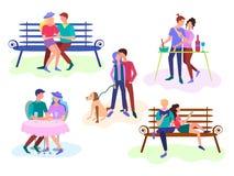 Par på ett datum och hemma stock illustrationer