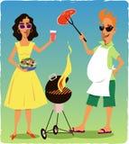 Par på ett grillfestparti Royaltyfri Bild