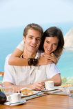 Par på frukosten Arkivfoton