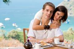 Par på frukosten Fotografering för Bildbyråer