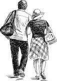 Par på går royaltyfri illustrationer