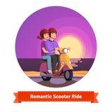 Par på sparkcykeln som har en romantisk ritt royaltyfri illustrationer