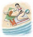 Par på stranden vektor illustrationer