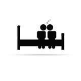 Par på sängsymbolsvektor Arkivbild