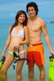 Par på strand Arkivbilder