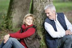 Par satt vid treen royaltyfria bilder