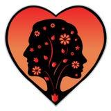 Par silhouette i en hjärta Royaltyfri Foto