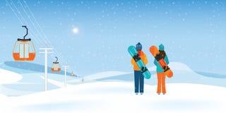 Par Snowboarders stoi z snowboards ilustracja wektor