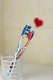 Par som är förälskade av två tandborstar St Valentindag Royaltyfri Fotografi